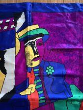 Vintage Multicolor Rainbow Picasso Abstract Scarf/Neck Tie/Hair Wrap