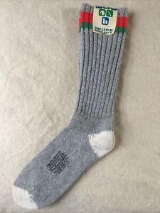 Vintage Ballston Boot Socks Medium Sz 10.5-11.5 Hiking Camping Hunting Gray