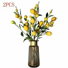 2 PCS Lemon Artificial Branch Stem Lemon Fruit Plants Fake for Home Garden Decor