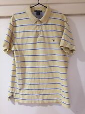 Gant Mens Yellow Striped Polo Shirt Size M Good Condition
