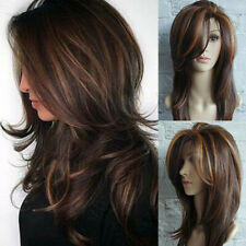 Sexy Women Wavy Curly Synthetic Wigs Brown Long Full Cosplay Wig Beauty