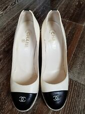 Chanel (Sz 40) off white/ Black CC Top Wedge Heels Shoes