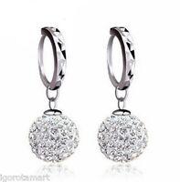 Necklace Earring Jewellery Set Austrian Gem Crystal Shamballa Silver Disco Ball
