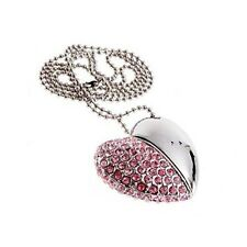 16g USB Key 2.0 Memory Heart Type With Crystal Pendant Necklace Stick Flash O4f