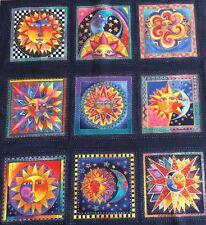 Laurel Burch - Celestial Dreams - Sun Panel - Dark Blue Metallic 100% Cotton