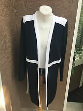 New Chico's Travelers Black White Colorblocked Jacket Size 2 = Large L 12 14 NWT
