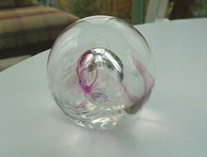 Vintage Caithness Scotland Moon Crystal Glass Paperweight Signed Imprinted Base