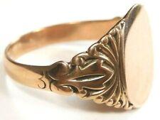 Art Deco Victorian Antique Unisex Signet 14K Rose Gold Ring Size 5.5 UK-K1/2