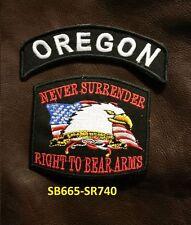 OREGON and NEVER SURRENDER Small Patches Set for Biker Vest Jacket