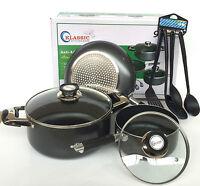 7pc Non Stick Set Sauce Pan Casserole Induction Pot Frying Pan & Cooking Spoons