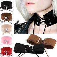 1Pc Sexy Women's Necklace Lace Up Punk Gothic Choker Vintage Velvet Leather