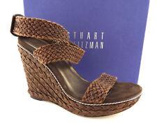 STUART WEITZMAN Size 9.5 ALEX Brown Crochet Wdge espadrille Sandals Shoes 9 1/2