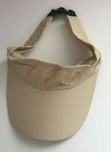Womens Visor Sun Hat Adjustable Running Cap / Beige New With Defect Free P&P