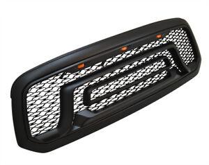 For 10-18 Dodge Ram 2500 3500 Black Front Bumper Grille W/RED LED Letters