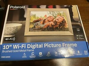 """NEW POLAROID PDWX-1050G 10"""" Wi-Fi DIGITAL PICTURE FRAME Brushed Gold Metal Frame"""