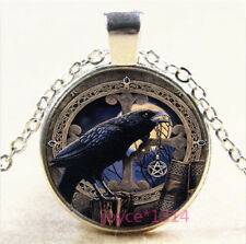 Celtic Crow Cabochon Silver/Bronze/Black/Gold Glass Chain Pendant Necklace #7021