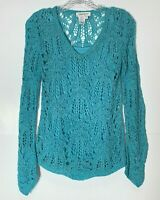 Coldwater Creek Crochet Sweater Top Long Sleeve V Neck Blouse Blue XS X-Small