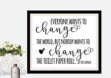 Funny Bathroom Picture Print Quote - black and white 8x10