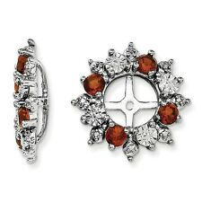 Platinum Sterling Silver Diamonds & Garnet Halo Earring Jackets For Studs