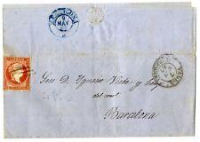 Sobre de España 1856 sello nº 44 rojo 4 cuartos Isabel II