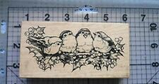 PSX Wood Mount Rubber Stamp Christmas Robins & Holly Berry Branch 4 Little Birds