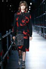 MIU MIU RESORT 2016 RUNWAY Black Red Swallow Bird Silk Socks Calze IT1/S NWT