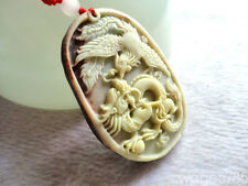 Natural ZiPao Jade Hand Carved Dragon Phoenix Lucky Amulet Pendant Necklace