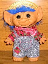 Troll Uneeda Doll con cappello di paglia 20 cm CAPELLI BLU