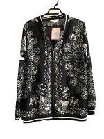 Julipa Black White Jacket Silky Feel Bomber Lightweight Semi Sheer Size 22