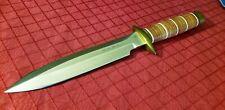 SOG SCUBA DEMO KNIFE - Satin Serrated Blade Leather Sheath - Seki Japan - RARE