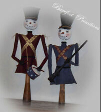 Primitive Snowman Soldiers drum Christmas Winter make do Paper Patten