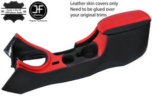 BLACK & RED  LEATHER CONSOLE + ARMREST + BEZEL COVERS FITS FORD MUSTANG 99-04