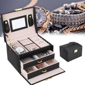 Black PU leather Watch Display Box Case Organizer For Women Men Jewelry Storage