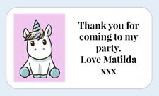 25 Personalised Unicorn thank you for coming to my party stickers Birthday