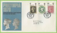 G.B. 1970 Philympia set on Post Office First Day Cover, Bureau
