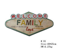Welcome FAMILY Unique Metal Hanging Tin Signs Shop Cafe Wall Decor