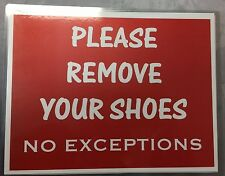 2 x PLEASE REMOVE YOUR SHOES signs water proof laminate Customize Letter size