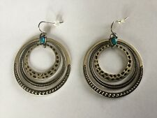 PREMIER DESIGNS AROUND TOWN EARRINGS SILVER PLATED HOOPS FAUX TURQUOISE STONE