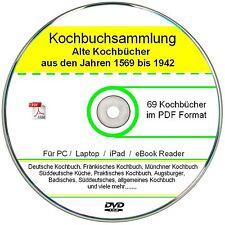 Kochbücher, Rezepte; 69 alte Kochbücher als ebook Sammlung   ✔ DVD