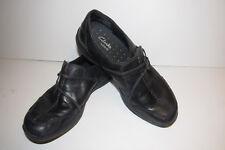CLARKS Waves Black Leather Slip On Walking Shoes - Size 8.5N EUC Nice Heals/Sole