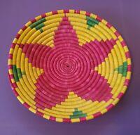 "Vintage Colorful Shallow Coiled Woven Basket Wedding Basket - 13-1/2"" Diameter"