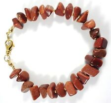 """Bracelet Goldstone (Manmade) Brown Nuggets/Beads Gold Plated 8"""" Handmade GB New"""