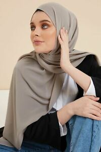 Feather Grey Soft Crepe Hijab