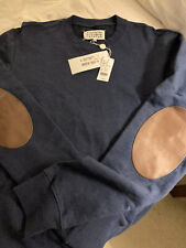 Maison Margiela NWT Leather Elbow Patch Sweatshirt - Navy Size L/52 $495