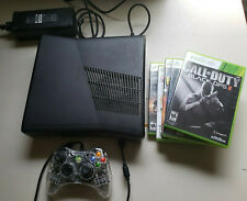 Microsoft Xbox 360 S Slim 4gb Black Console Bundle Model 1439 W/6 Games W/Box
