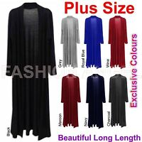 Ladies Women Long Sleeve Cardi Length Boyfriend Maxi Cardigan Plus Size UK 8-22