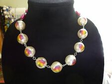 Necklace 18.5 inches Fun Rainbow Hearts Hot Pink Faux Pearls Heart Toggle Clasp