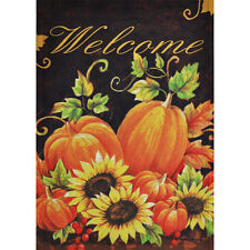 "PUMPKINS & SUNFLOWERS WELCOME 28"" X 40"" PORCH FLAG 10-1810-123 RAIN OR SHINE"