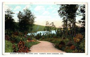 Highway Approach to Stone Lake, Planets near Crandon, WI Postcard *6M11