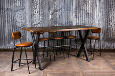 8FT POSEUR BAR TABLE TALL INDUSTRIAL STYLE STEEL X FRAME RESTAURANT DINING TABLE
